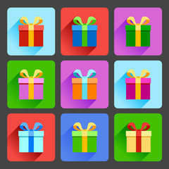 Flat gift box icons set