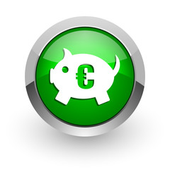 piggy bank green glossy web icon