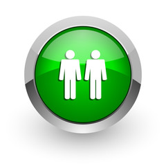 couple green glossy web icon