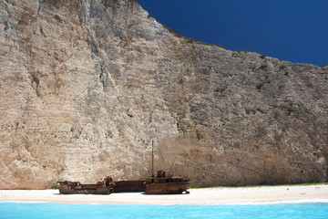 Shipwreck in Smuggler's Cove, Zakynthos, Greece