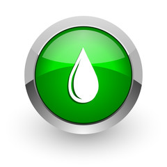 water drop green glossy web icon