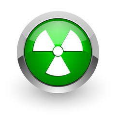 radiation green glossy web icon