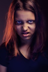 Angry teen girl