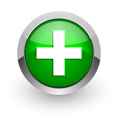 plus green glossy web icon