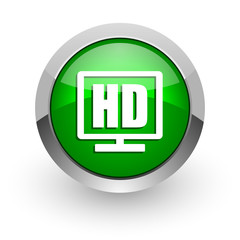 hd display green glossy web icon