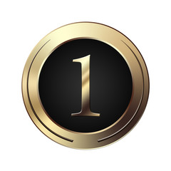 Icone chiffre 1 en or