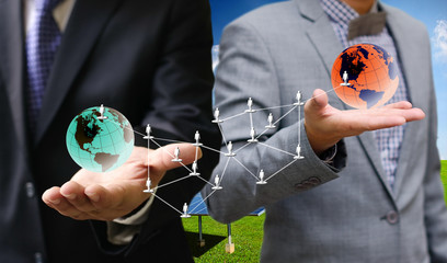Businessman show his global network concept