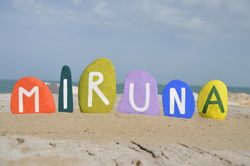 Miruna, female romanian name on colored stones