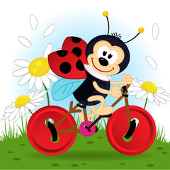 ladybug on bike - vector  illustration, eps