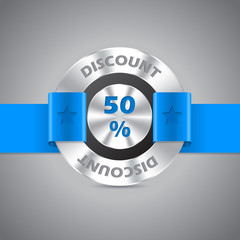 50% discount sale metallic badge