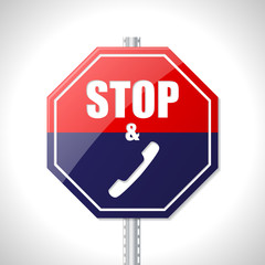 Stop and call traffic sign