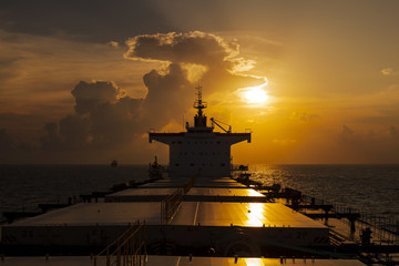 Superstructure of the ship at sunset