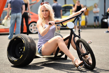 babe on  tricycle
