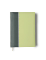 Green notebook isolated on white background with clipping path