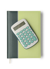 Notebook and calculator isolated on white background with clippi