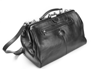 Doctor bag black leather.