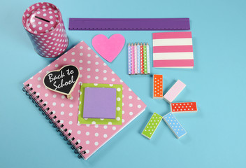 Back to School bright pink, polka dot and colorful stationery