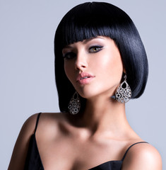 Beautiful woman with shot hairstyle