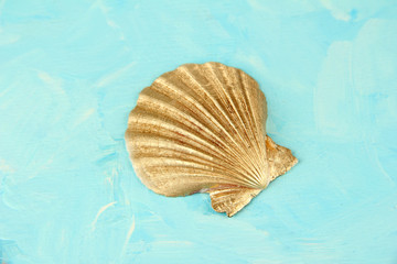 Colorful seashell on color wooden background