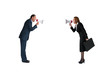 business concept conflict megaphone isolated