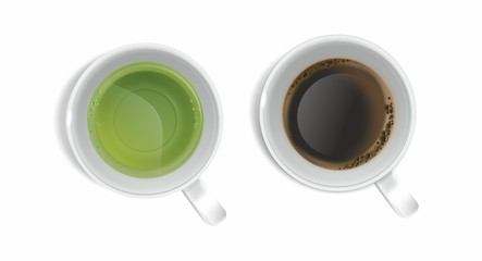 The green tea and the coffee illustration