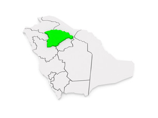Map of Hail. Saudi Arabia.