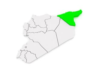 Map of Hasakah. Syria.