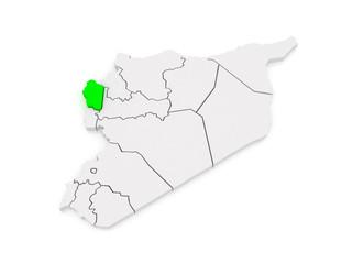 Map of Latakia. Syria.