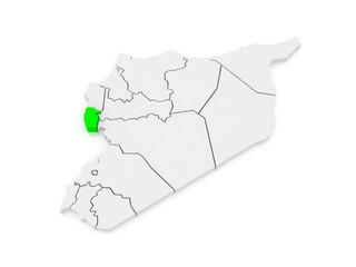Map of Tartous. Syria.
