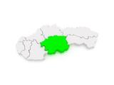 Map of Banska Bystrica Region. Slovakia.