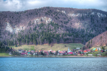 Small village under the mountains - HDR