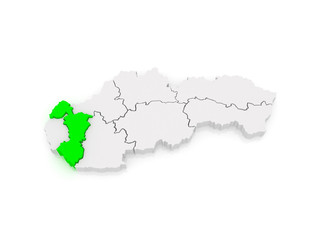 Map of Trnava. Slovakia.