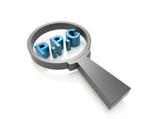 P.P.C-pay per click 3d word concept