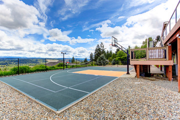 House backyard with sport court