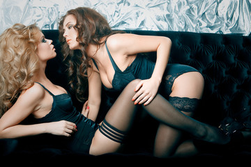 two sexy woman in lingerie