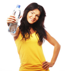 confident gym woman with water bottle smiling