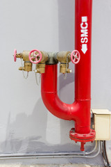 Red fire Hydrant with water hoses