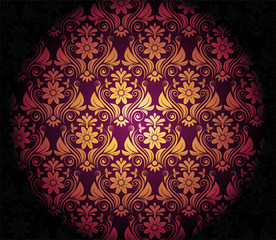 Dark Purple Background With Gold Vignette