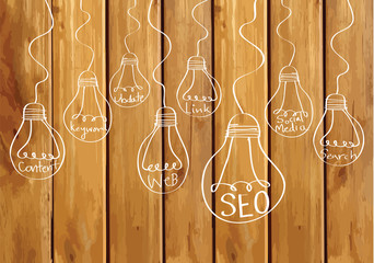 Seo Idea SEO Search Engine Optimization on wood background plank