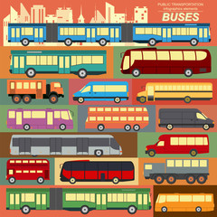Public transportation, buses. Set elements infographics