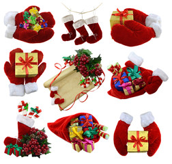 Christmas set with Santa mittens and gifts