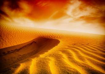Sunset over the Sahara Desert