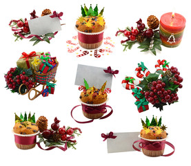 Christmas set with candle, muffins and decorations