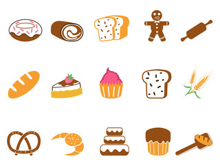color bakery icons set
