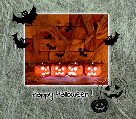 Halloween card with pumpkins and bets