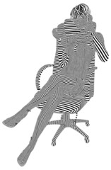 A Young Girl's On The Phone In An Armchair Stripes Vector