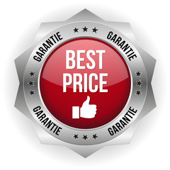 Roter Best Price Button mit mteal Rand