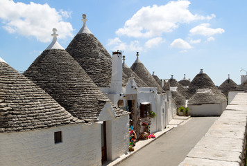 Trulli houses with conical roof in Alberobello, Italy