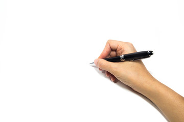 Woman hand holding a pen