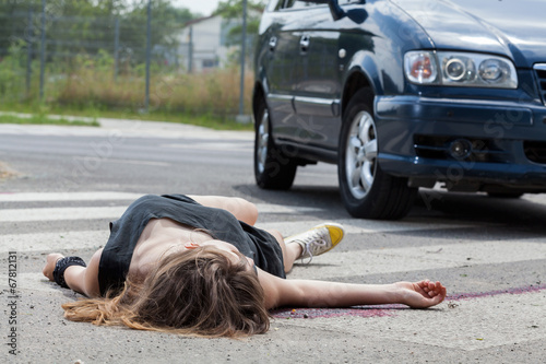 canvas print picture Car hit young woman